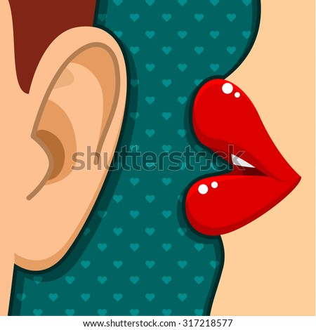 Concept of gossip or love. Female lips speak in the ear. Flat design, vector illustration. - stock vector