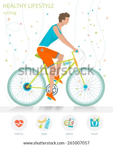 Concept of healthy lifestyle. Young man is riding a bicycle. Cycling  - stock vector