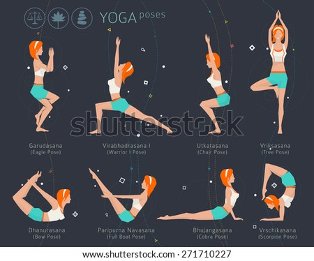 Concept of healthy lifestyle / young woman practices yoga / yoga meditation / set of poses / vector illustration / flat style - stock vector