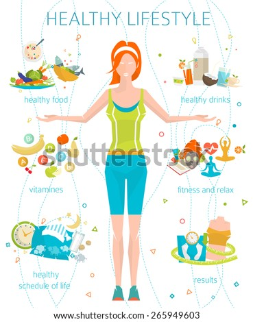 Concept of healthy lifestyle / young woman with her good habits / fitness, well food, metrics / vector illustration / flat style - stock vector