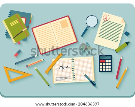 Concept of high school object and college education items with studying and educational elements. Top view of desk background. Flat icons vector collection.  - stock vector