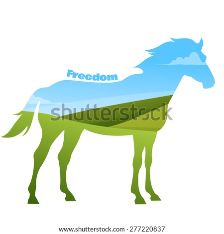 Concept of horse silhouette with text on field background. Vector illustration - stock vector