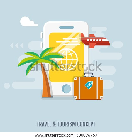Concept of international business travel and tourism. Flat design. - stock vector