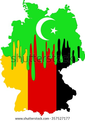 concept of Islamic emigration to Germany with symbols of Islam and Germany - stock vector