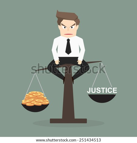 Concept of justice can be bought with money - Vector - stock vector