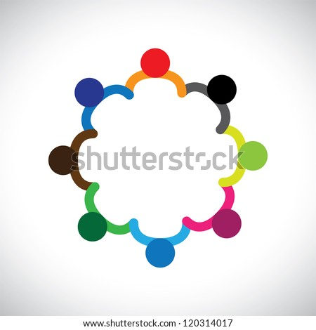 Concept of kids playing, teamwork and diversity. The logo template contains kids holding hands & forming a circle & can also represent concept of corporate team and teamwork & also people diversity - stock vector