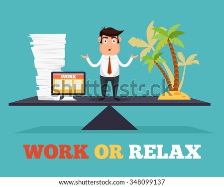 Concept of life and work balance. Vector flat illustration - stock vector