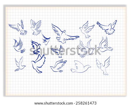 Concept of love or peace. Set of white vector doves. - stock vector