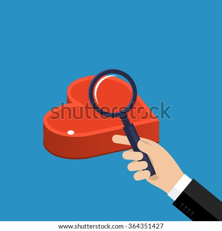 Concept of love or relationship. Hand with magnifying glass looks at heart.  - stock vector