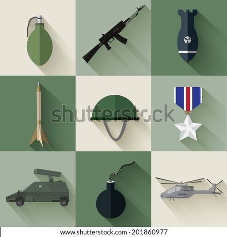 Concept of military equipment flat icons. vector illustration design - stock vector