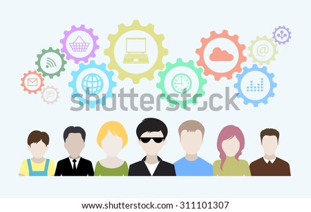 Concept of modern business and teamwork. Design background with avatars of people, gears, icons. - stock vector