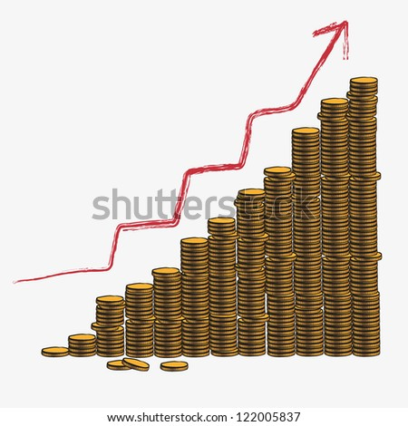 Concept of money growth - stock vector