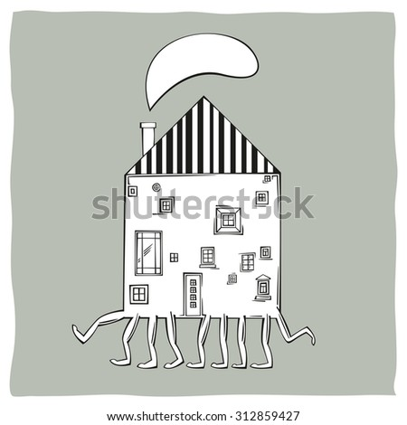 Concept of moving. House with many legs walking - stock vector