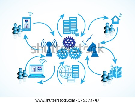 Concept of Network connectivity, this illustrates the employees connecting data center serves from different locations like home, work place through laptop, mobile and desktop - stock vector