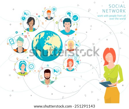 Concept of networking between many people from all over the world. Concept of social media network. Collaboration of different people. Vector illustration. - stock vector
