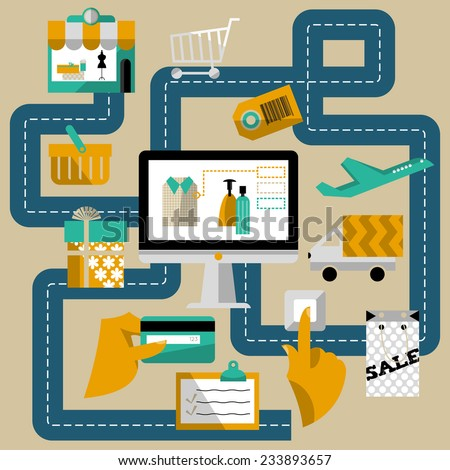 Concept of online shop and e-commerce.Vector illustration - stock vector