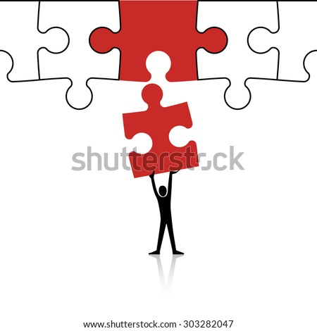 Concept of problem solving - connecting together puzzle pieces - stock vector