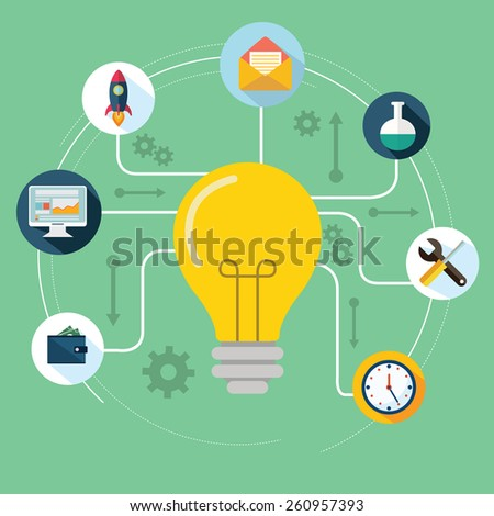 Concept of productive business ideas. Lightbulb with drawing graphics around - stock vector