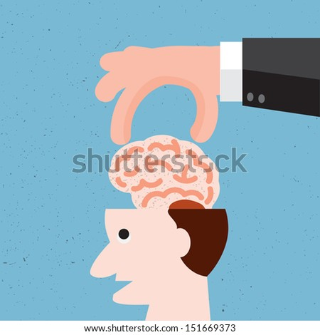 Concept of protecting human knowledge,Vector - stock vector