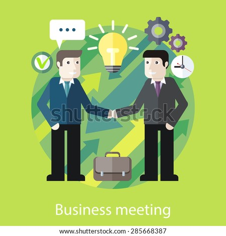 Concept of reason for a business meeting. Exchange of ideas. Two businessmen are talking. For web design, analytic, graphic design, in flat design style. - stock vector