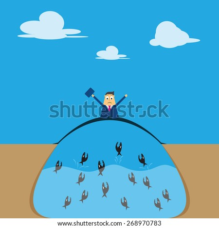 Concept of risk in business with businessman across the risk and obstacles to success - stock vector