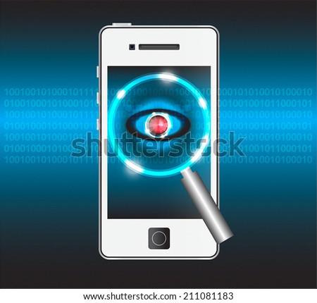 Concept of scan virus in smartphone on dark background. - stock vector