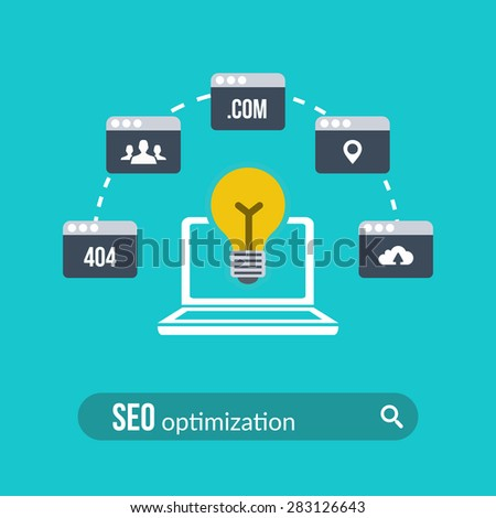 Concept of search engine optimization. Flat design. Vector Illustration. - stock vector