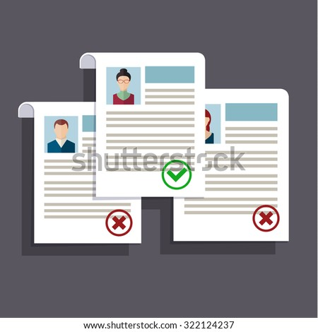 Concept of searching professional staff, analyzing personnel resume, recruitment, human resources management, work of hr. Flat design, vector illustration.  - stock vector