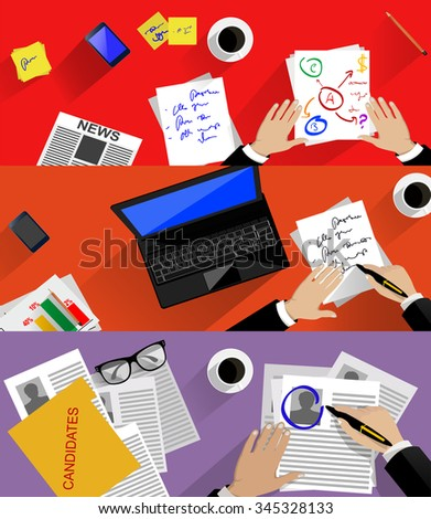 Concept of searching professional staff,workplace, analyzing business process, recruitment, human resources management, planning business. Flat design, vector illustration. - stock vector