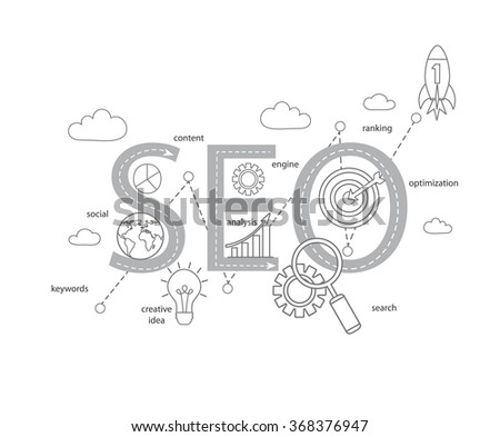 Concept of SEO word combined from modern thin line elements and icons which symbolized a success internet searching optimization process. Vector illustration. - stock vector