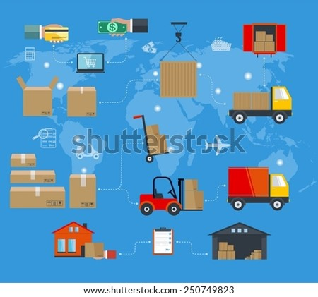Concept of services in delivery goods. World concept of delivery of goods; online shopping; worldwide shipping. Template in flat style - stock vector