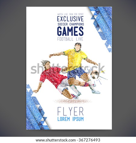 Concept of soccer player with colored dots assembled in figure football. concept flyer - stock vector
