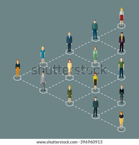 Concept of social media marketing. Vector illustration, flat design. - stock vector