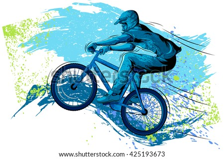 Concept of sportsman Cycling. Vector illustration - stock vector
