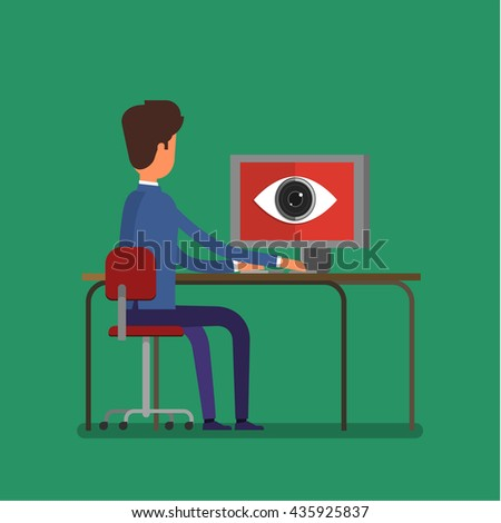 Concept of spying. Big brother is watching a man. Flat design, vector illustration - stock vector