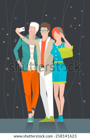 Concept of taking selfie photo on smart phone  /  three young people are making photo together /  vector illustration - stock vector