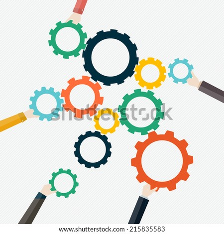 Concept of teamwork and integration with businessman holding colorful cogwheel - stock vector
