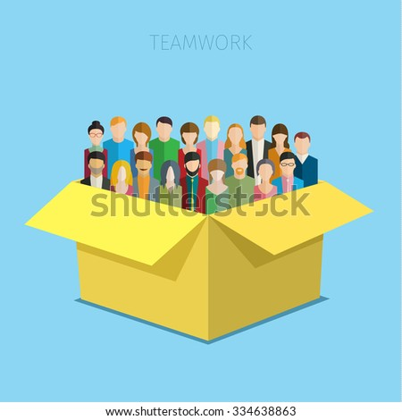 Concept of teamwork. Big group of men and women in the open yellow box. Flat design vector illustration. - stock vector