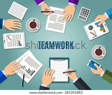 Concept of teamwork consulting on briefing, group of people planning, brainstorming idea of company strategy. Flat design style modern vector illustration - stock vector