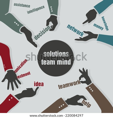 concept of teamwork. hands and ideas - stock vector