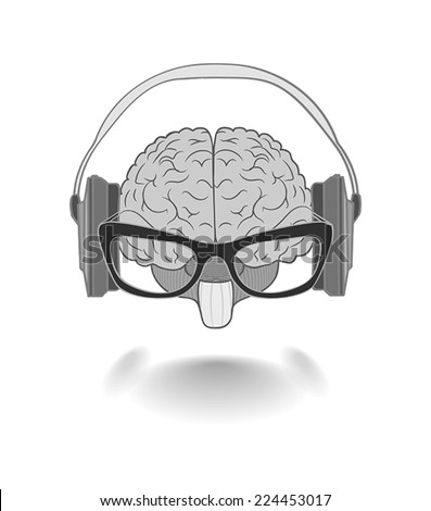 Concept of the human brain with glasses enjoyer music from the headphones - stock vector