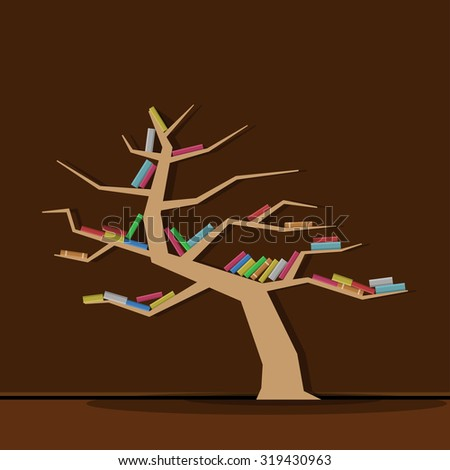 Concept of training. Empty bookshelf in form of tree. Science about nature. Ecology. Have no knowledge about environment nature. - stock vector