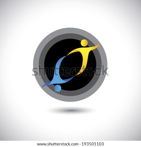concept of trust, partnership, friendship, loyalty - concept vector. This graphic can also represent mutual understanding, bonding, companionship, dependency, reciprocal, give-take relationship - stock vector