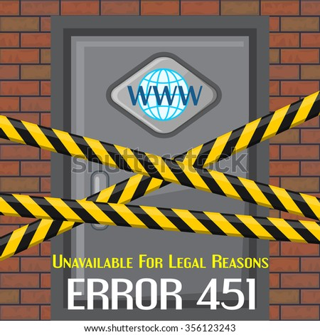 Concept of unavailable for legal reason error message with brick wall and door - stock vector