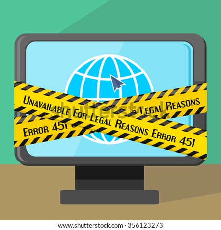 Concept of unavailable for legal reason error message with warning line on monitor - stock vector