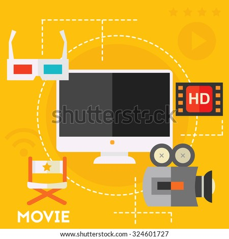 Concept of video production and motion graphic - stock vector