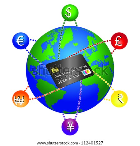 Concept on how a credit card can be used anywhere. Modifiable colors. EPS/AI8 file. - stock vector