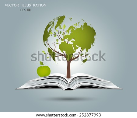 Concept on the theme of science, wood, in the form of a map of the world, rising from an open-book, vector illustration modern template design - stock vector