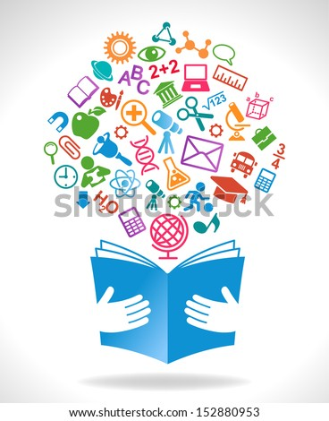 concept on the topic of education. book icon in the hands of the icons on the theme of science - stock vector