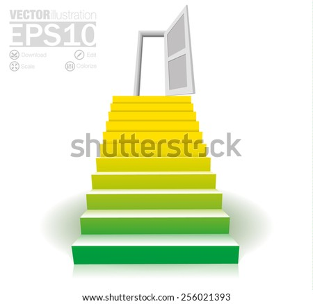 Concept or conceptual 3D stair going up to open door. metaphor to success, career, work, progress, rise, achievement, ambition, growth goal. Vector illustration - stock vector